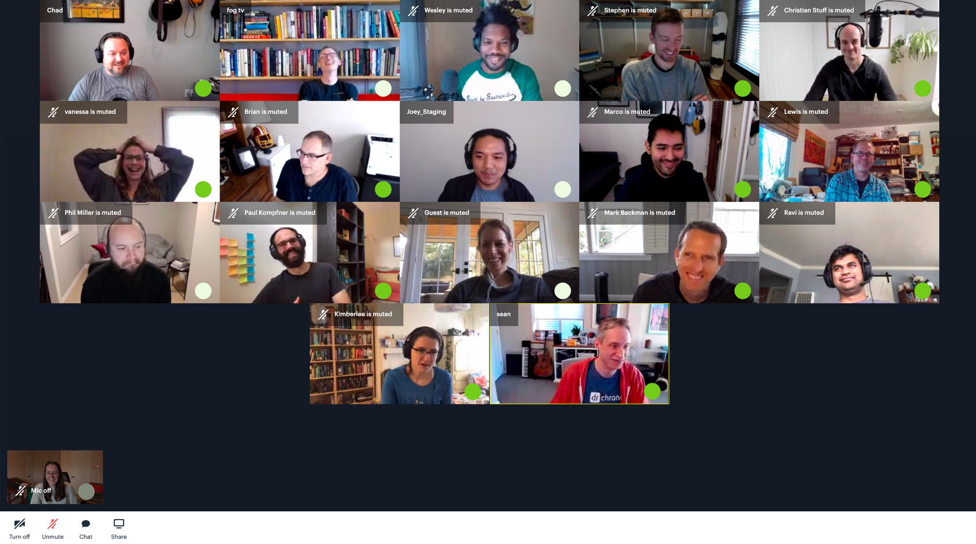 Video call with green dots demonstrates who is speaking
