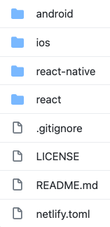 Screenshot of project directory with folders that read android, ios, react-native-react, plus gitignore, license, readme, and netlify.toml