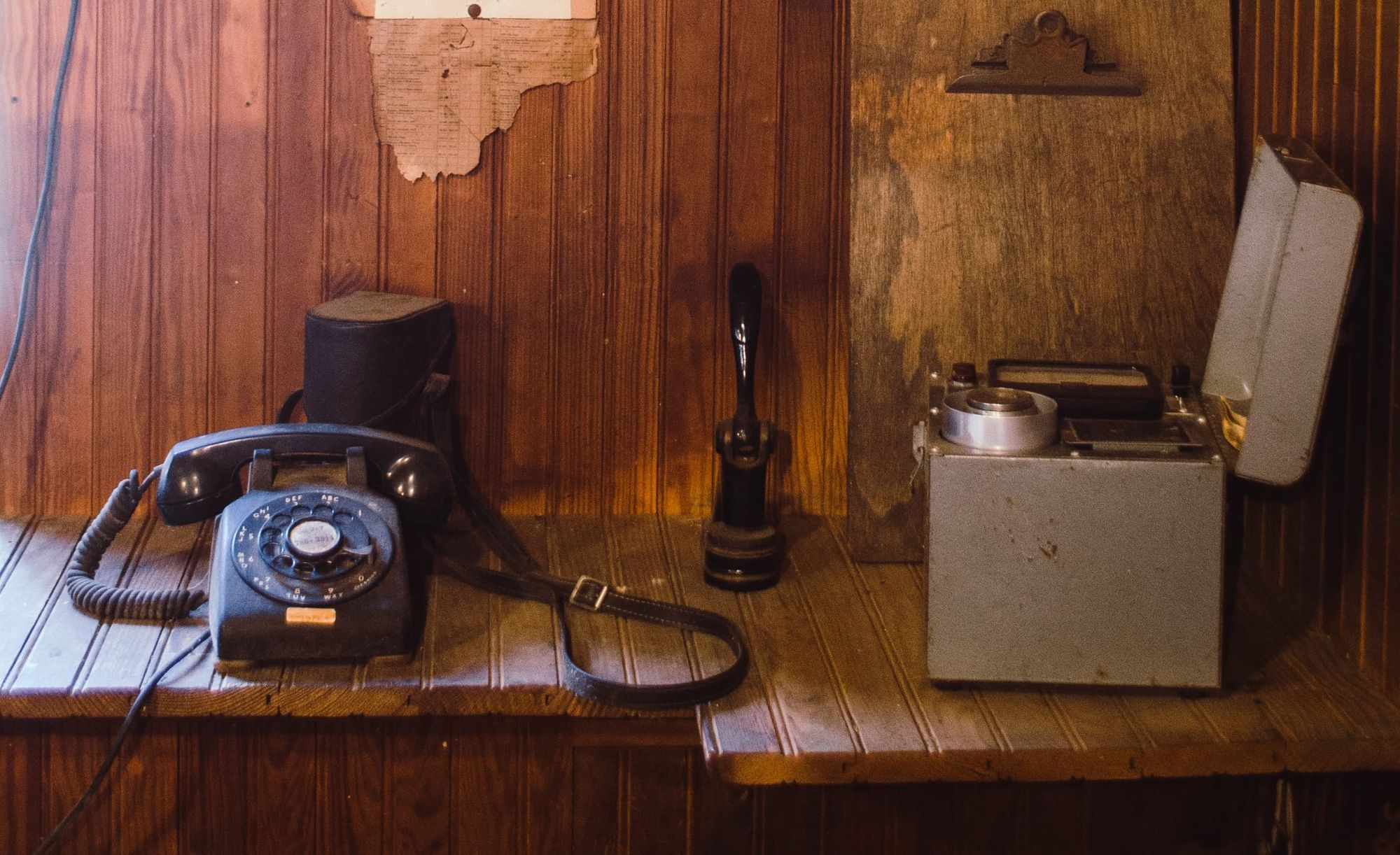 Rotary phone in old office
